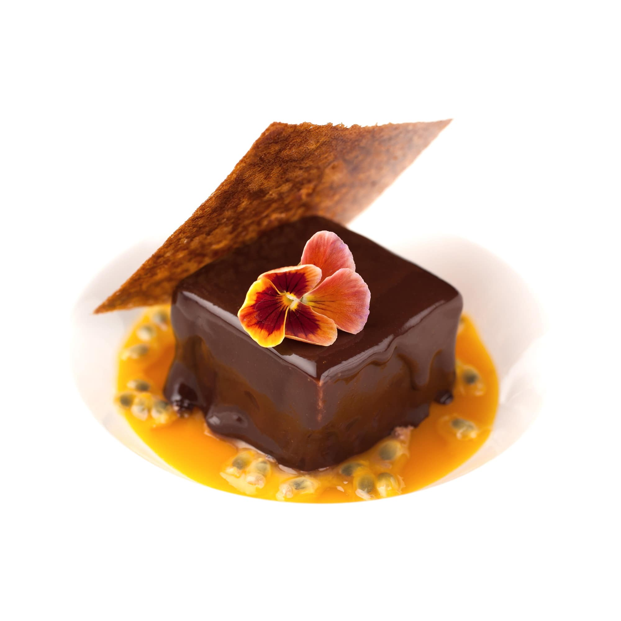 Parfait au chocolat et passion, tuile craquante.