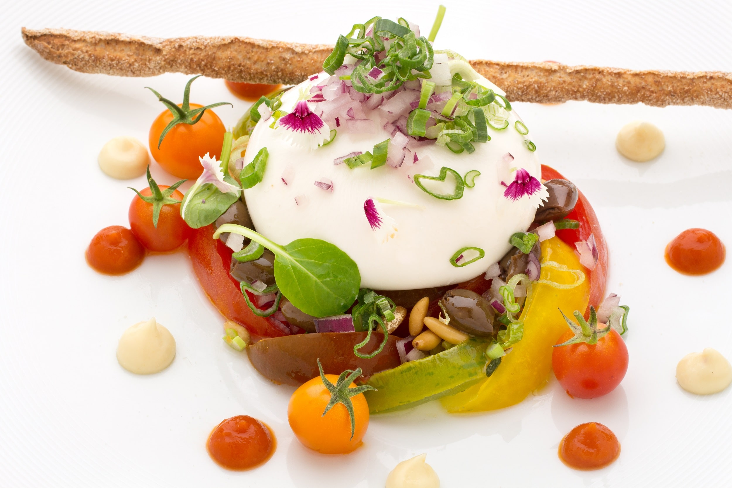 Mozzarella burratina & tomates anciennes
